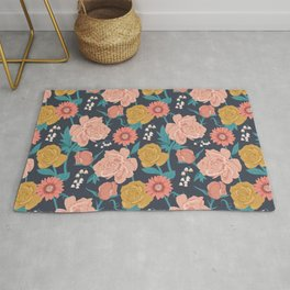 Paint by Numbers Florals on Navy Rug