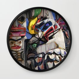 Totem Poles in the Pacific Northwest Wall Clock