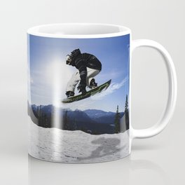 Born To Fly Snowboarder & Mountains Coffee Mug