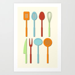 Kitchen Utensil Colored Silhouettes on Cream Art Print