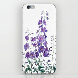 purple blue delphinium watercolor iPhone Skin