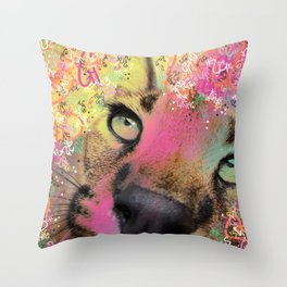 Little Caracal Cat Face Throw Pillow