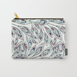 Delicate stylized twigs with leaves on a white background. Carry-All Pouch