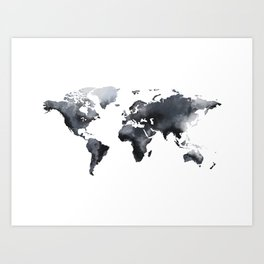 Blue world map Art Print
