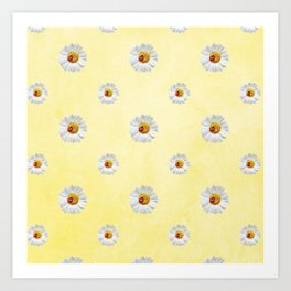 Daisies in love- Yellow Daisy Flower Floral pattern with Ladybug Art Print