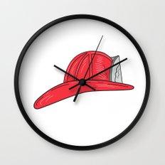 Vintage Fireman Firefighter Helmet Drawing Wall Clock