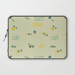 Happy urban life typography doodles hipster pattern Laptop Sleeve