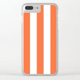 Smashed Pumpkin orange - solid color - white vertical lines pattern Clear iPhone Case