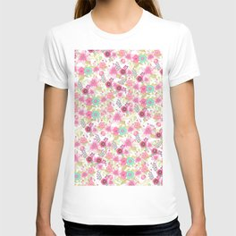 Bohemian pink vintage trendy country flowers T-shirt