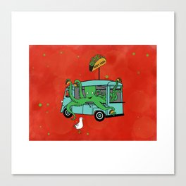 Flock of Gerrys Gerry Meets Octo & his Tacos Canvas Print