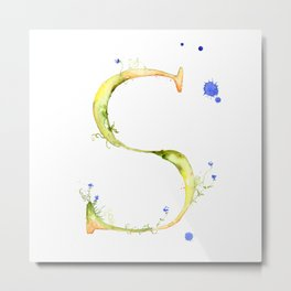 Letter S watercolor - Watercolor Monogram - Watercolor typography - Floral lettering Metal Print