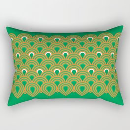 retro sixties inspired fan pattern in green and orange Rectangular Pillow
