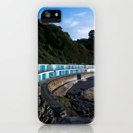 Meadfoot Imposing Cliffs And Beach Huts iPhone Case