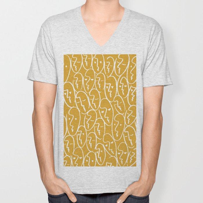 faces / mustard Unisex V-Neck