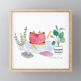 Reading cat - watercolor Framed Mini Art Print