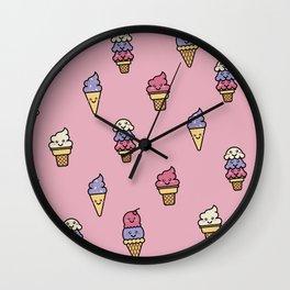 Kawaii Ice Cream Pattern Wall Clock