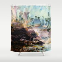 novelty Shower Curtains featuring Morning Seashore Abstract by Moody Muse