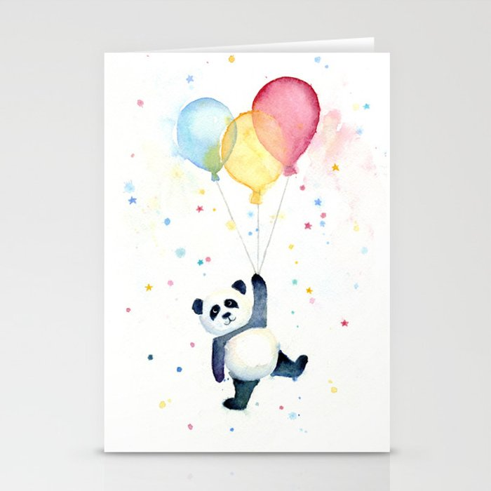 Birthday Panda Balloons Cute Animal Watercolor Stationery Cards By