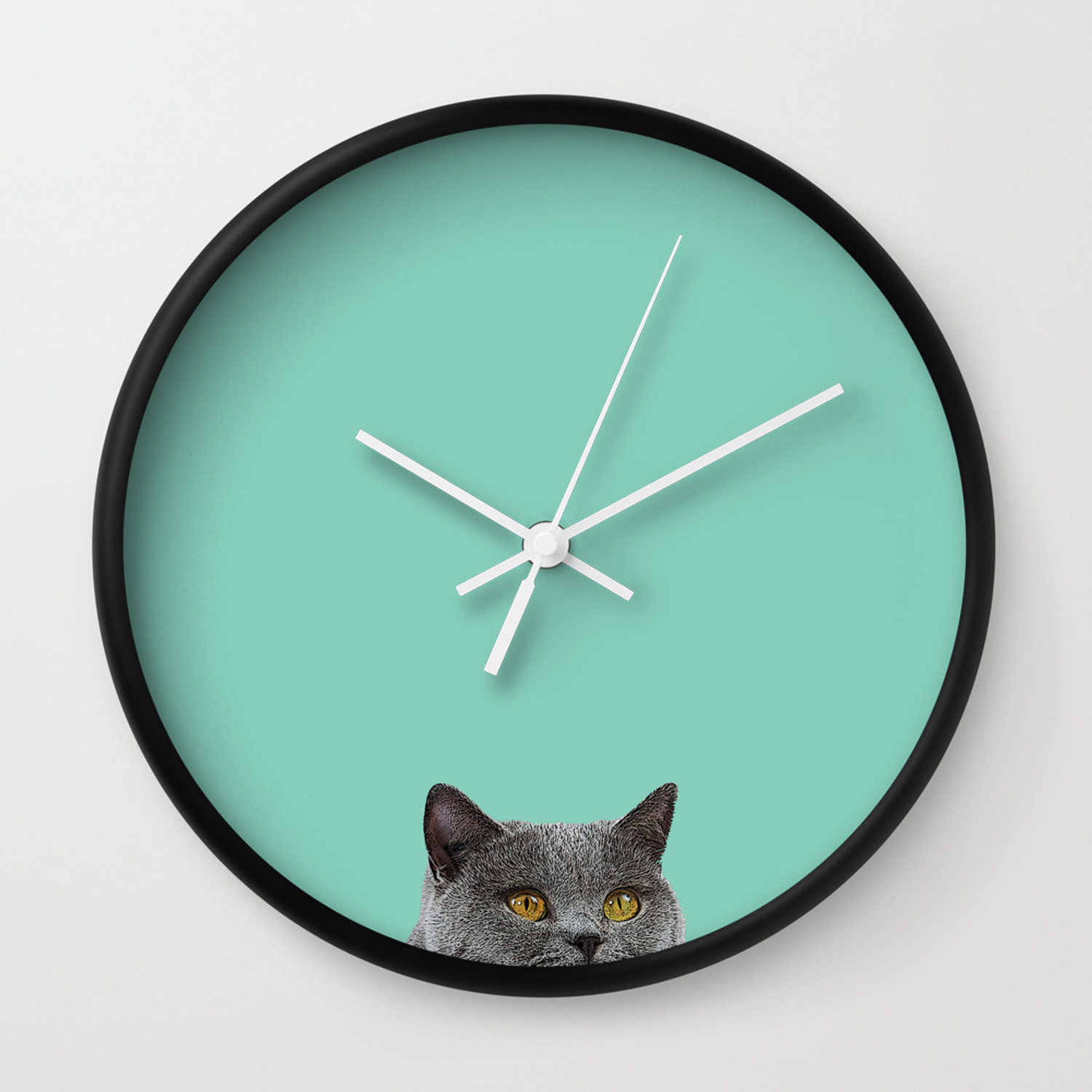 Duck Egg Blue British Short Hair Wall Decor Cat Clock