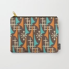 Mid Century Modern Atomic Wing Composition 235 Brown Orange and Turquoise Carry-All Pouch