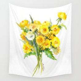 Dandelion Flowers, Herbal, herbs, field flowers, yellow floral design Wall Tapestry