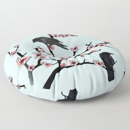 Ravens on cherry tree Floor Pillow
