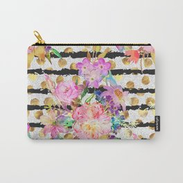 Elegant spring flowers and stripes design Carry-All Pouch