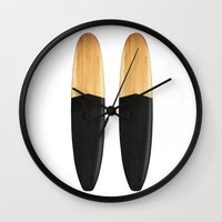 surfboard Wall Clocks featuring Vintage Wooden Surfboard by theJoynerBrand