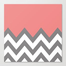 CORAL COLORBLOCK CHEVRON Canvas Print