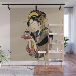 Tea Time with Pug Wall Mural