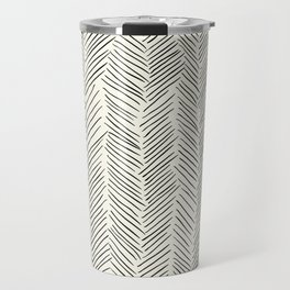 Herringbone Black on Cream Travel Mug