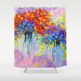 Music of multi-colored flowers Shower Curtain