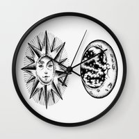 sun and moon Wall Clocks featuring Sun & Moon by Cady Bogart