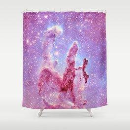 Galaxy nebula : Pillars of Creation lavender mauve periwinkle Shower Curtain