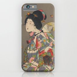 Japanese Art Print - Woman and Fireflies iPhone Case