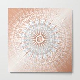 Rose Gold Gray Mild Mandala Metal Print