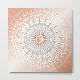 Rose Gold Gray Mild Mandala Metal Print