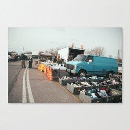 Blue Van flea market Canvas Print
