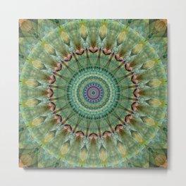 Mandala green malachite Metal Print