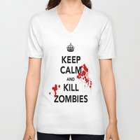 zombies V-neck T-shirts featuring ZOMBIES by Tania Joy