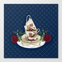 Vintage Rose Tea Cups Canvas Print