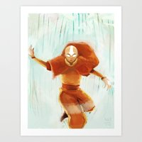 aang Art Prints featuring Avatar Aang by drawnerys