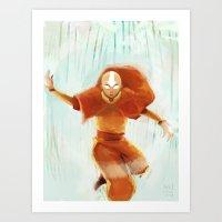 aang Art Prints featuring Avatar Aang by drawnerys