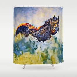 Wild Horse in Sea of Grass watercolor by CheyAnne Sexton Shower Curtain