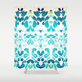 Memories of Summer, Bright Sea Blue and Yellow Shower Curtain