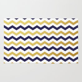 Navy Blue and Gold Chevron Pattern Rug