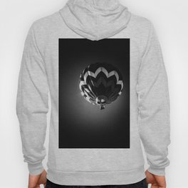Up a black and white phtograph of a hot air balloon Hoody
