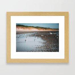 Low tide beach Framed Art Print