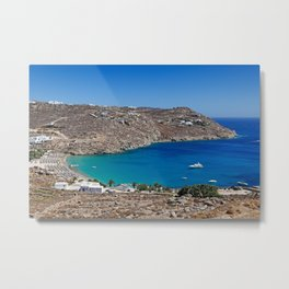 Super Paradise is one of the most famous beaches in Mykonos, Greece Metal Print