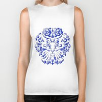 damask Biker Tanks featuring Cat Damask by Vannina